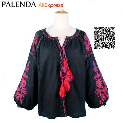 Palenda 2016 new cotton kaftans blouse tassel bohemian shirt lantern sleeve boho wide fit loose pattern large size female women
