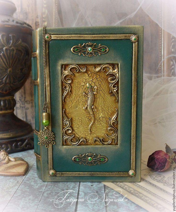 """Купить Шкатулка - книга """"LACERTA"""" - зеленый, изумрудный, золотой, книга, книга-шкатулка, шкатулка-книга"""