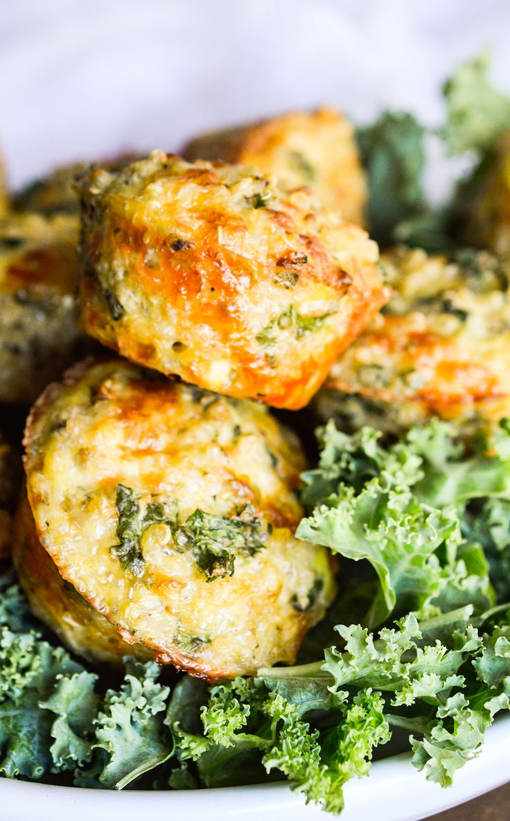 Kale and Quinoa Bites are a great healthy snack! This vegetarian recipe is gluten free and packed with nutritious ingredients!