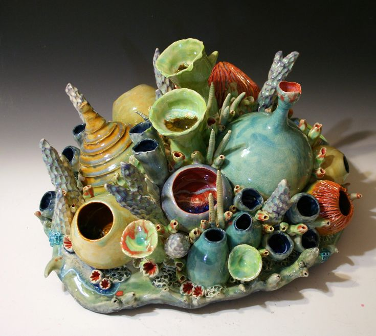 Ceramic Coral Reef Sculpture by Diane Martin Lublinski.  Follow my work at www.Facebook.com/ClayForms