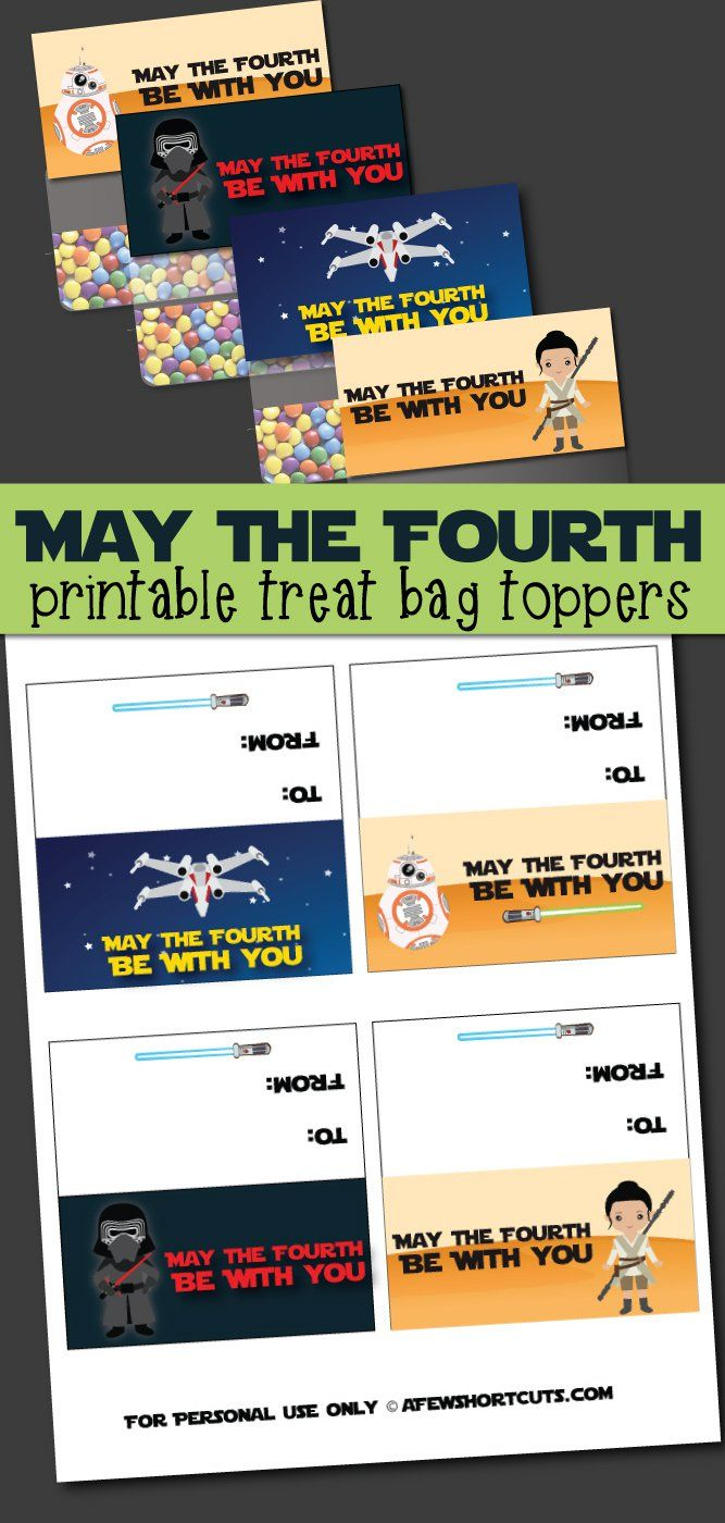 Don't miss Star Wars day! Celebrate May the Fourth be with you day with these fun printable treat bag toppers!