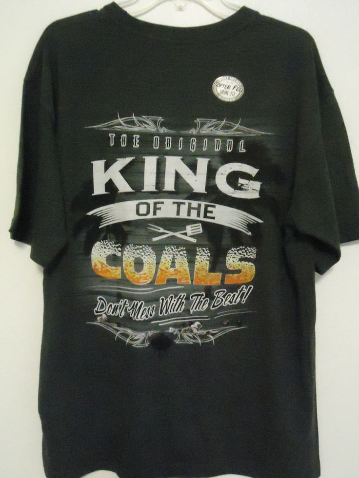 Men's KING OF THE COALS BBQ Graphic T-Shirt by Newport Blue Charcoal Gray Size M #NewportBlue #GraphicTee