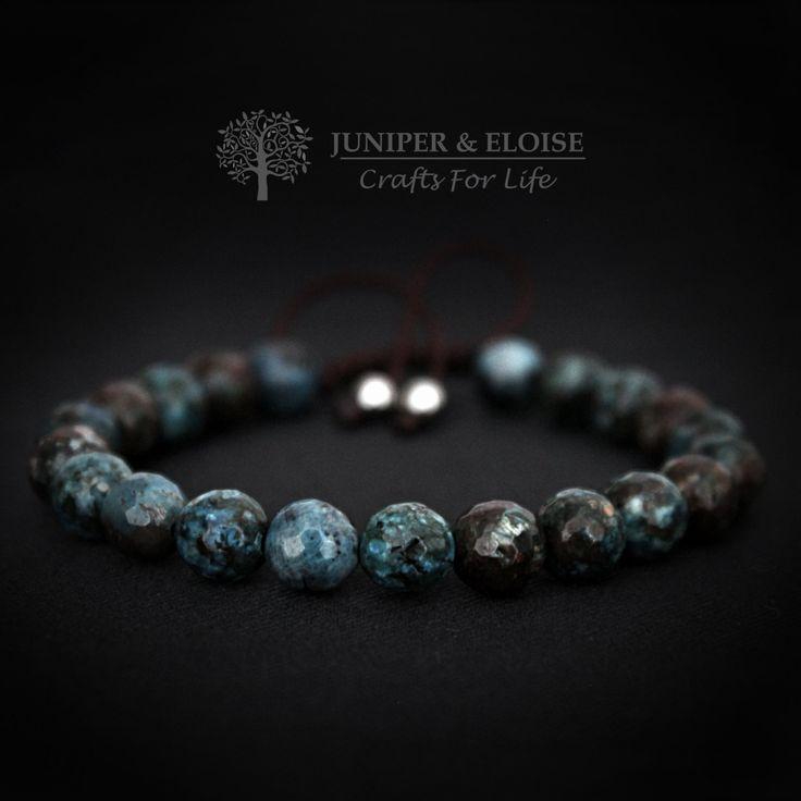 Mens Bracelet , Womens Bracelet, Gemstone Bracelet, Bracelet Gift, made with 8 mm Turquise Brown Faceted Jade Beads, Unisex Bracelet by JUNIPERANDELOISE on Etsy