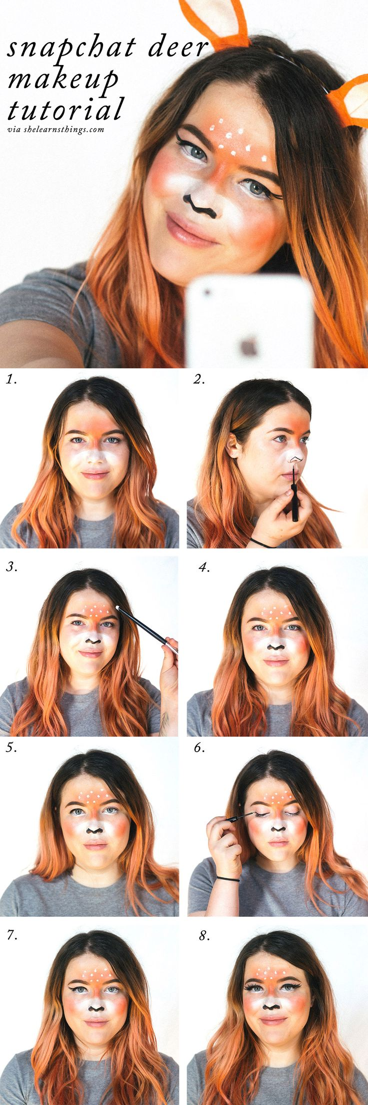 A quick and easy Snapchat deer makeup look! Fun for Halloween
