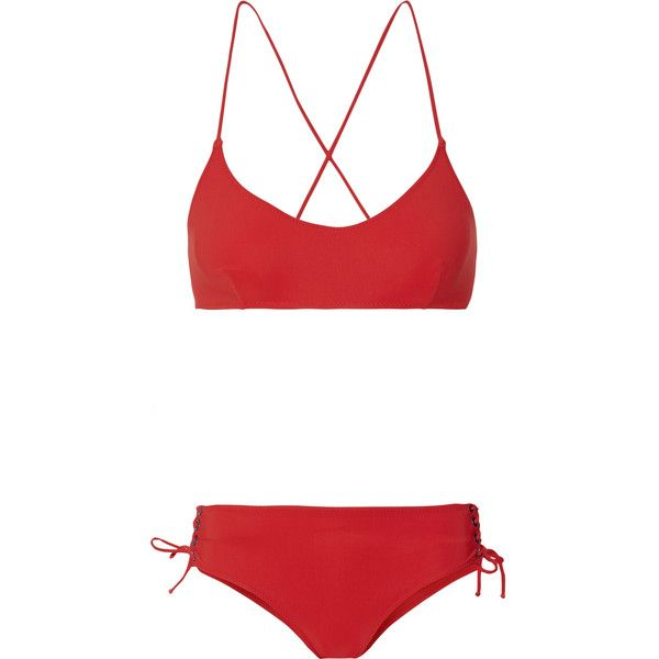 Emma PakeChiara + Calinda Lace-up Halterneck Bikini ($405) ❤ liked on Polyvore featuring swimwear, bikinis, red, halter-neck bikinis, embellished halter top, halter neck bikini, halter top and halter bikini top