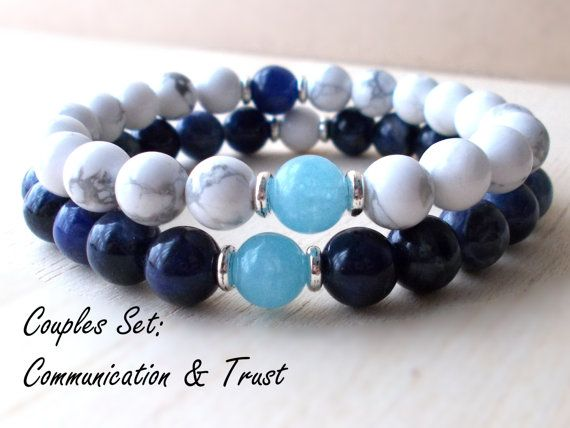 Couples Gift, Couples Set, Matching Couples Bracelets Set, Healing Couple Jewelry Set, Mala Bracelet,Yoga Set,Chalcedony, Sodalite, Howlite