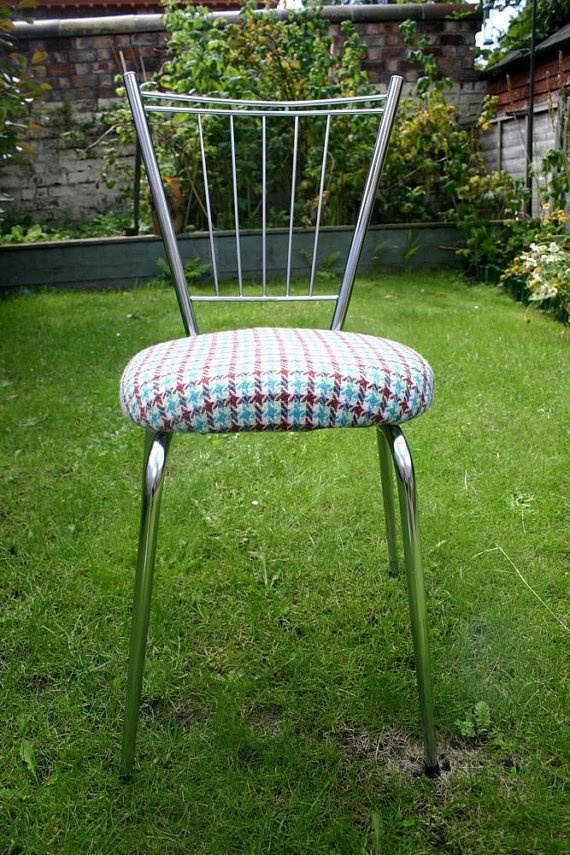 Beautiful piece of vintage furniture in great condition. I have reupholstered in this lovely retro tweed. All vintage fabrics used in my upholstery are treated for fire retardancy.