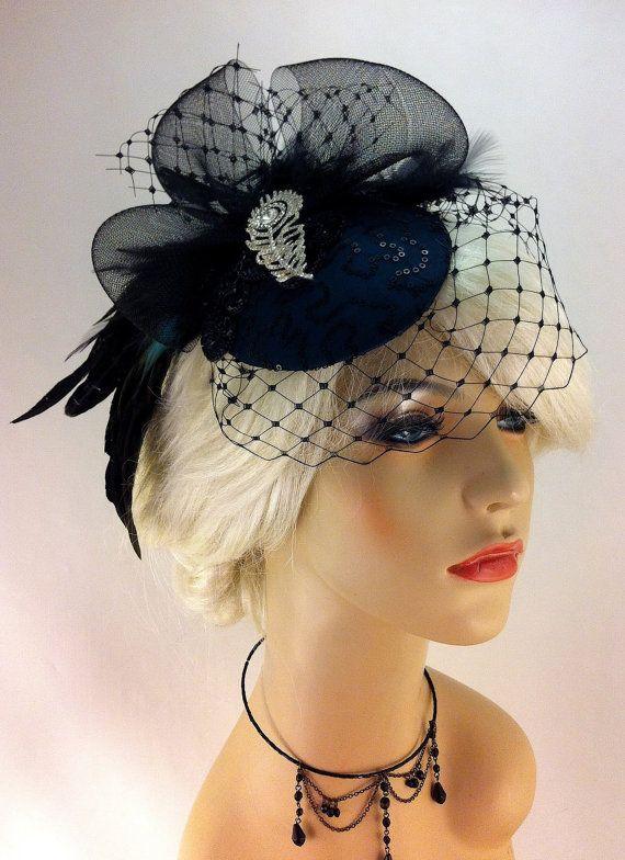 Bridal Hat, Dark Teal Silk, Feather Fascinator, Wedding Head Piece, Fascinator, Cocktail Hat, Crystal Rhinestone Peacock Brooch,