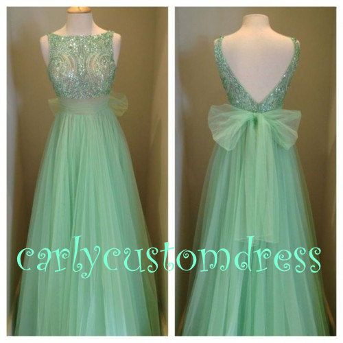 Long Champagne Mint Prom Dress/Beaded Bridesmaid Dress/Peach Red Grey Chiffon Evening Dress/Homecoming Dress/Graduation Dress/Formal Dress