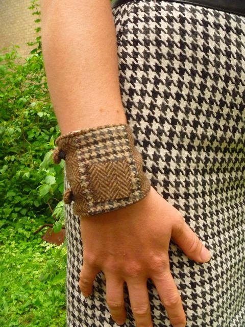 houndstooth/herringbone bracelet by morgan cleopatra
