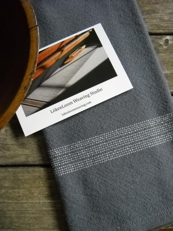 Handwoven Charcoal Gray Kitchen Towel, Dark Gray with White ...