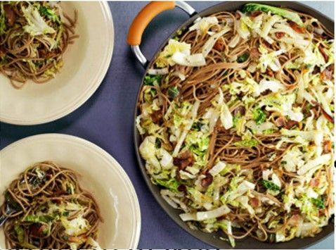 spaghetti witte kool en spekjes