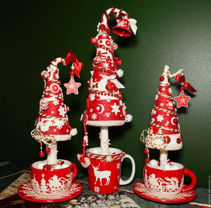 Новый год 2016 ручной работы. Ярмарка Мастеров - ручная работа. Купить Красные елки. Handmade. Ярко-красный, новогодний сувенир