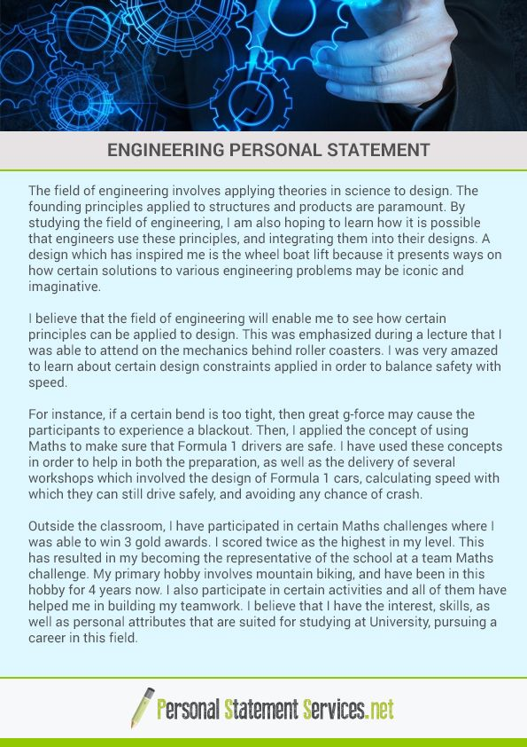 It is very antagonism subject when you apply for an engineering - personal statements