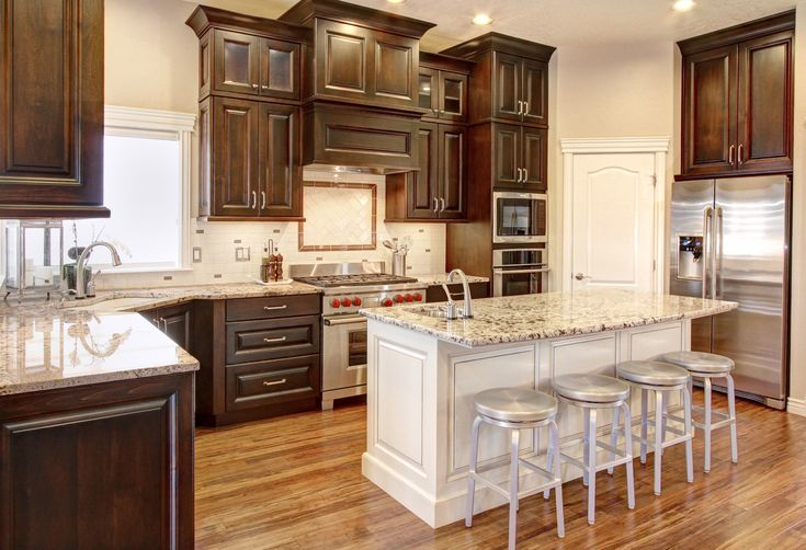 Dark Perimeter Cabinets With White Island Cabinets And