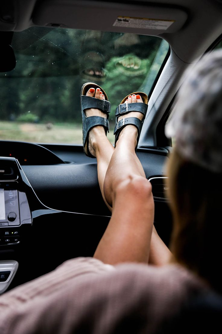 road trip, birks, and red toes