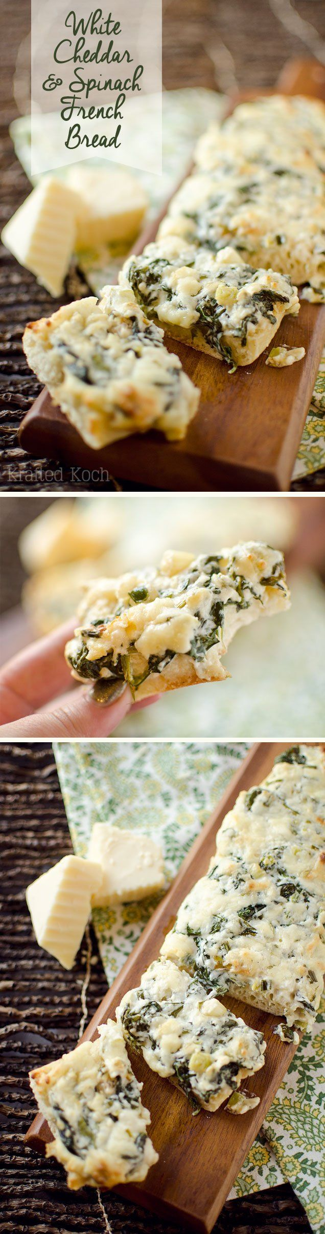 White Cheddar & Spinach French Bread - Krafted Koch - Crusty French bread topped with baby spinach sautéed in butter with garlic and green onions and mixed with extra sharp white cheddar for a decadent appetizer or vegetarian entrée recipe your guests will devour!