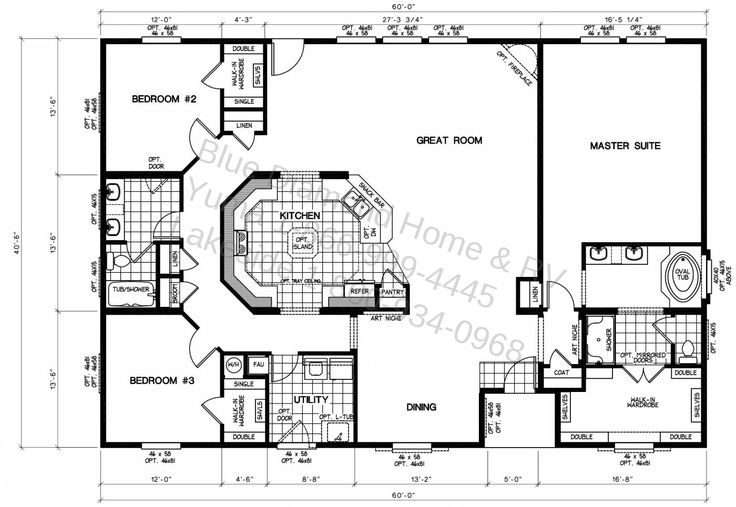 Triple Wide Manufactured Home Floor Plans | ... lock you into standardized triple wide manufactured home floor plans