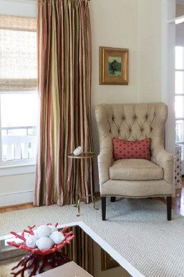 Sally Steponkus Interiors Washington DC Tufted Wing Chair Living Room Furniture Silk Draperies Cowtan