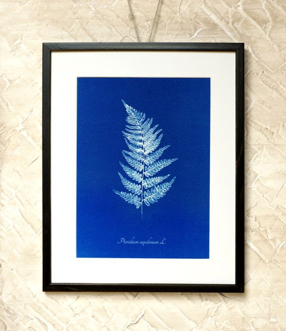 Wall Decor Blue Bracken Leaf  7x9'' by RetroPhotographyArt on Etsy
