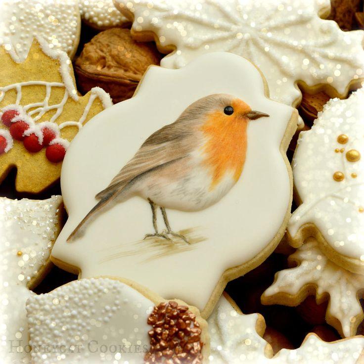 Handpainted robin By Lucy (Honeycat Cookies) http://www.honeycatcookies.blogspot.co.uk