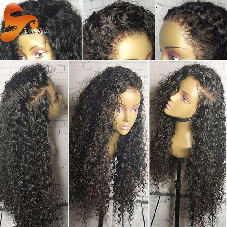 250% Kepadatan Penuh Renda Wig Rambut Manusia Untuk Wanita Hitam Malaysia Lace Depan Rambut Manusia Wig Keriting Rambut Perawan Renda Frontal Wig