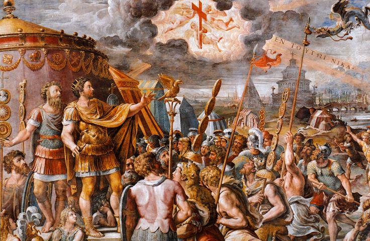 Cette fresque décrit l'apparition qu'eut l'empereur avant la bataille contre Maxence au pont Milvius le 28 octobre 312.