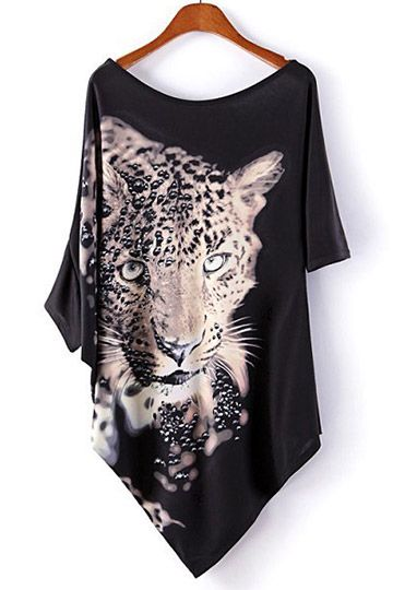 #persunmall Leopard Print T-shirt with Irregular Hem