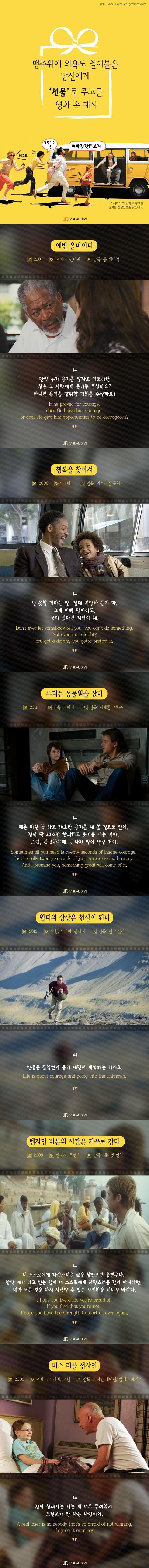 추운 겨울, '용기'의 불씨 지펴줄 명대사 6선 [인포그래픽] #Movie / #infograhpic ⓒ 비주얼다이브 무단 복사·전재·재배포 금지