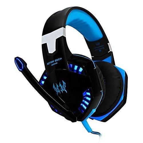 VersionTech G2000 Stereo Gaming Headset for PS4 Bass Over-Ear Headphones with Mic and LED Lights for Laptop PC Computer Smartphones Blue