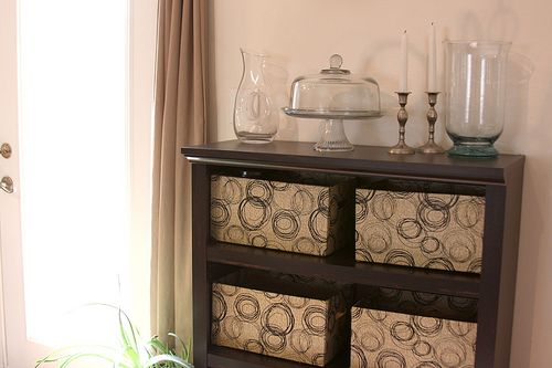 """Cheap and Easy DYI """"Baskets"""" for storage"""