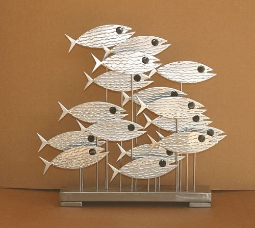 Abstract Metal Fish Sculpture Free Standing Chrome Black Us Artist Jere Styl