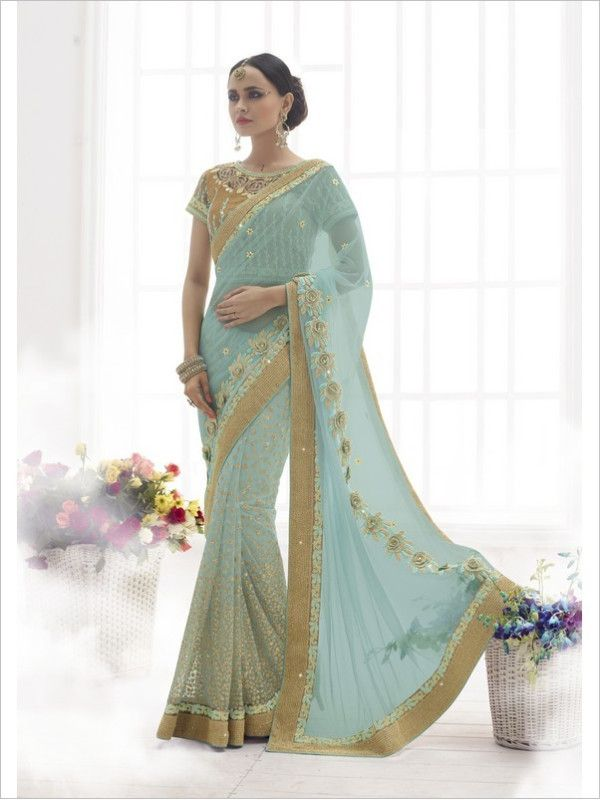 Turquoise Party Wear Net/Satin Saree