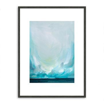 Minted for west elm - Teal Winds.  30 x 40, $212. . .  May  bring a touch of the cabinet color and eye around the family room.  Far wall to right of window.