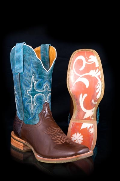 Mobile Women's Blue Exotic Girl Classic Tin Haul Ladies Boots Western Wear
