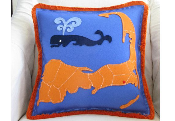 Cape Cod Map & Spouting Whale Pillow in Blue and Orange Felt, Nautical Whale Pillow, Cape Cod Beach Pillow