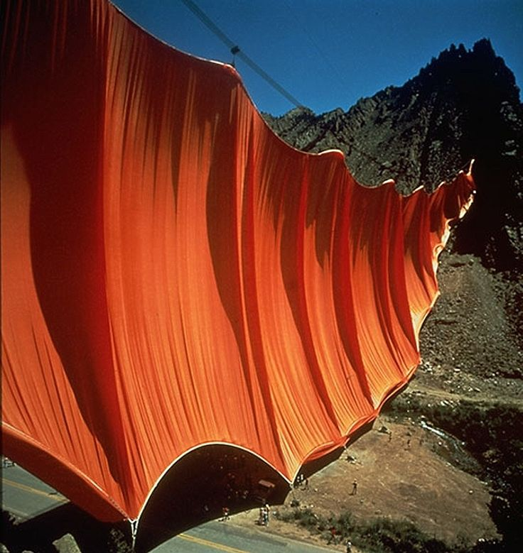 Valley Curtain, Rifle Colorado, 1970-72. By Christo and Jeanne-Claude---I still don't understand why though...