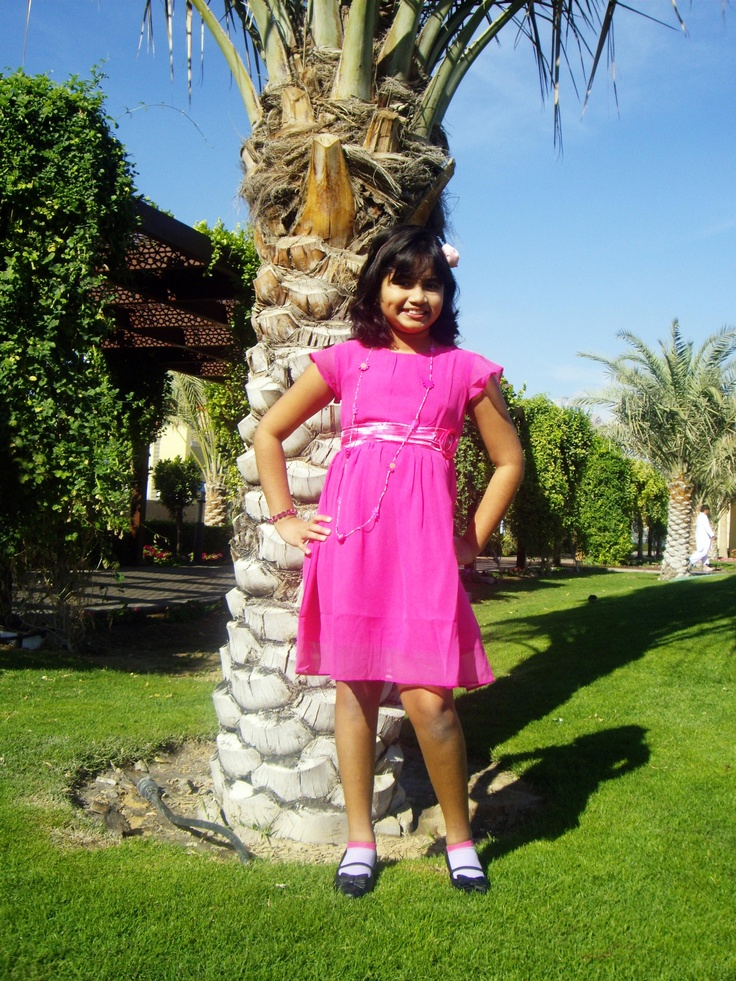 Nikki - Pink dress with gathered pleats on the waist band and jeweled corsage on the waist band