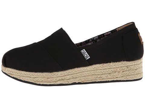BOBS from SKECHERS Wedge Espadrille Memory Foam Black - Zappos.com Free Shipping BOTH Ways