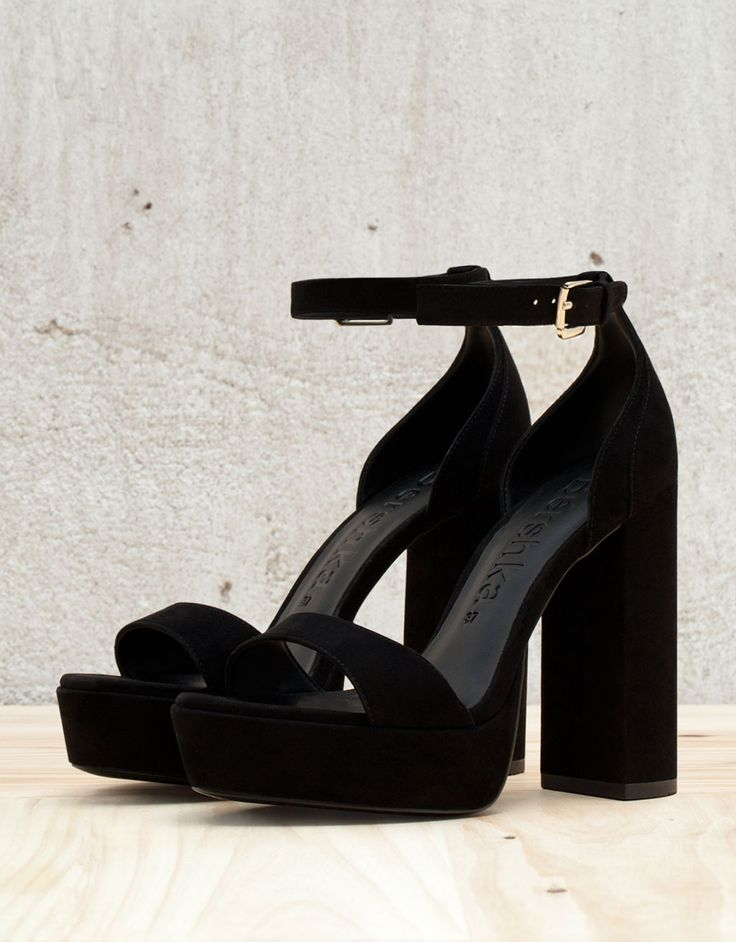 Strappy platform heeled sandals. Discover this and many more items in Bershka with new products every week