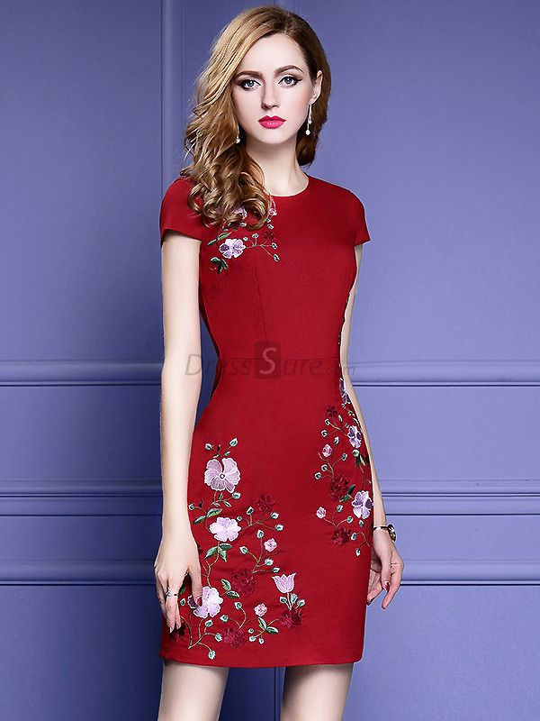 05800c2f47 Vintage Embroidered Short Sleeve Bodycon Dress - DressSure.com