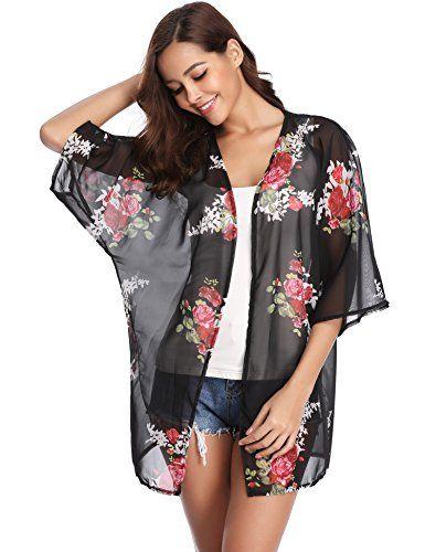 e5cb174c026b3 Gilet Kimono Femme Veste Cardigan Fleur Fluide Léger Plage Imprimé Casual  Ourlet 3 4 Manches