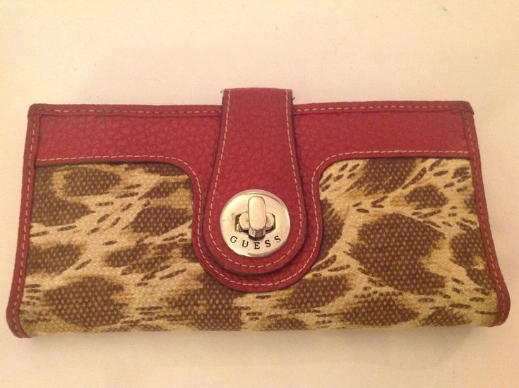 "Guess Clutch Checkbook Wallet Red Pebbled Leather Animal Print Canvas 6.25"" x 3"" #GUESS #Clutch"