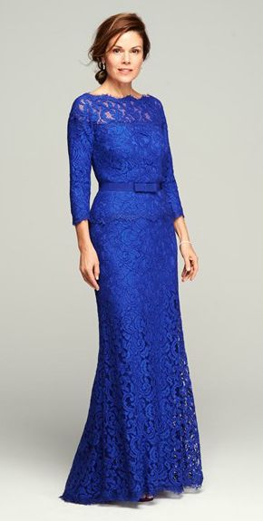 #motherofthebride #motherofbride Beautiful blue mother of the bride dress with Long Sleeves.  See more evening gown options on our board.