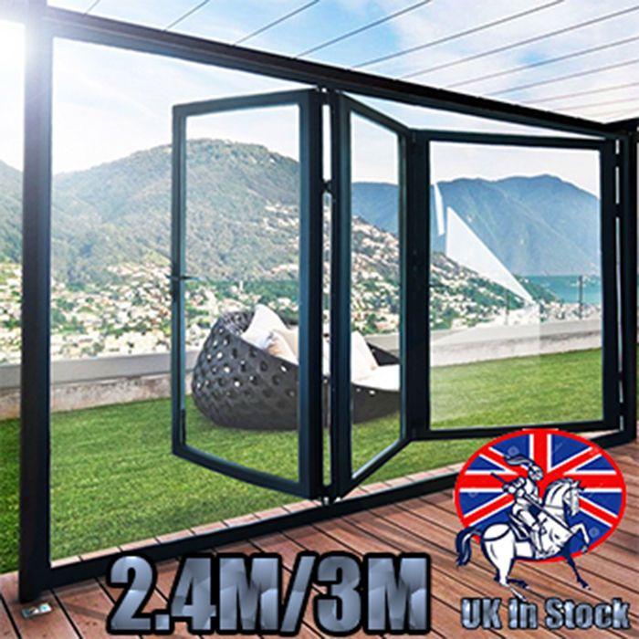 High Quality Aluminuim Bi-Fold 2.4m/3m Glass Door Inc 3 Panels Protector Screen