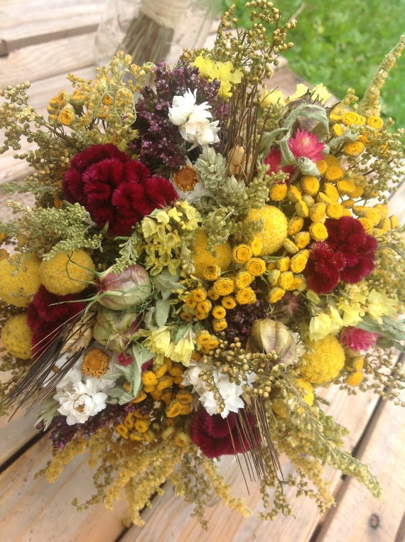Sun and Gold Collection  Bridesmaid Bouquet  by FamilyDriedFlowers, $25.95