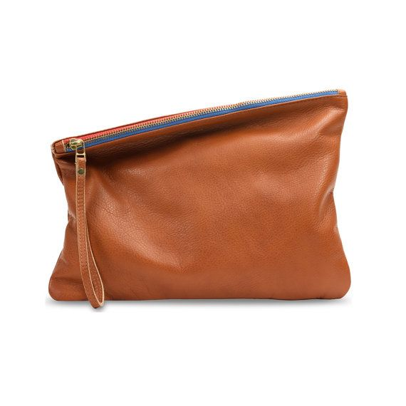 BROWN Leather clutch evening bag foldover clutch by LeahLerner, $85.00