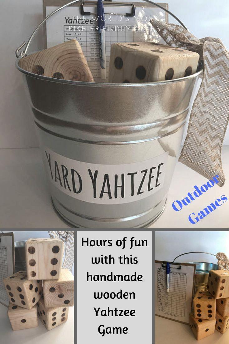Yard size Yahtzee Game, handmade wooden dice.  Great for an outdoor party with kids or adults! #outdoorliving#games#yard#etsy#ad#handmade