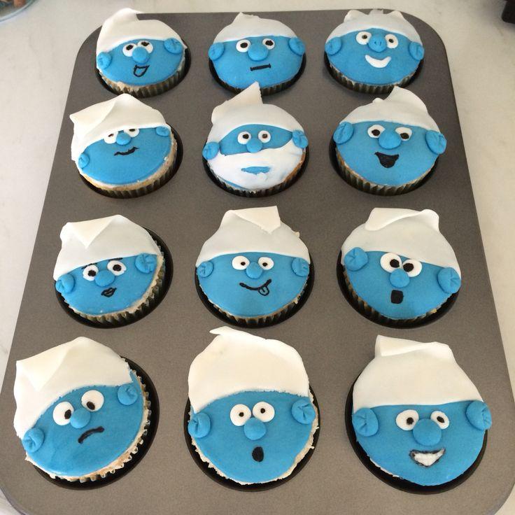 Homemade cupcakes, Smurfs