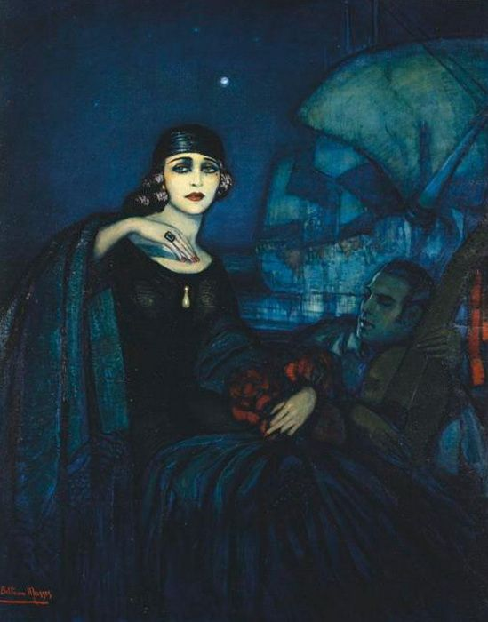 Spanish Art Deco Artist Federico Beltrán Masses (1885-1949) ~ Pola Negri and Rudolph Valentino